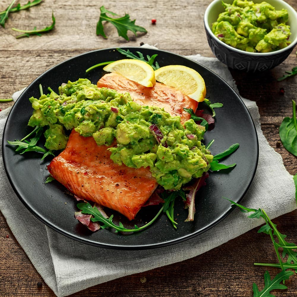 Salmon with green sauce from La Española Olive Oil Instagram