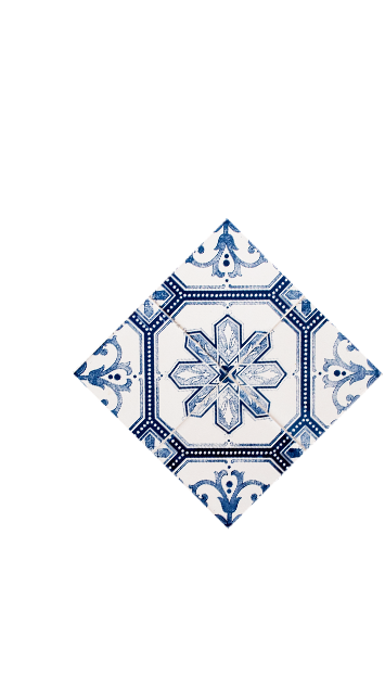 Blue tile mosaic in La Española flavoured olive oil variety page