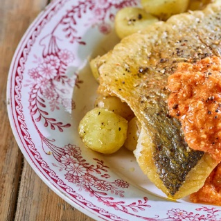 Pan fried sea bream with romesco sauce