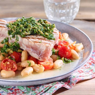 Tuna steaks with white beans and salsa verde